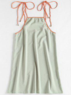 Contrasting Knotted Slip Dress - Green Thumb L