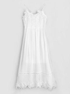 Backless Lacework Maxi Cami Dress - White M