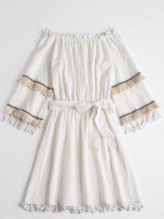 Bohemian Tassels Off Shoulder Mini Dress - White L
