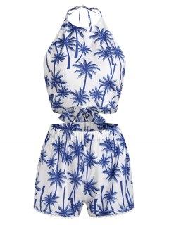 Gebundene Palme Top Und Crochet Trim Shorts Set - Weiß Xl