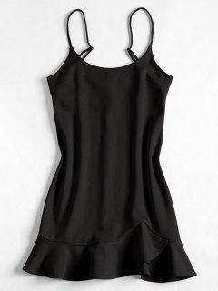 Slip Ruffles Mini Dress - Black M