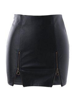 Zippers PU Skirt - Black Xl