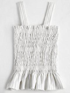 Smocked Ruffles Tank Top - White