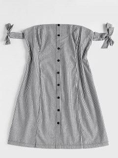 Striped Off Shoulder Mini Dress - Black M