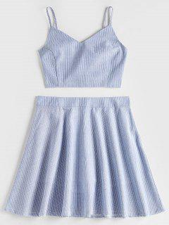 Smocked Back Stripes Top And Skirt Set - Blue Gray M