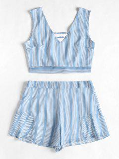Open Back Striped Top And Ruffles Shorts Set - Columbia Blue M