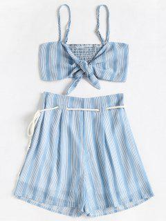 Smocked Stripes Top And Belted Shorts Set - Columbia Blue L