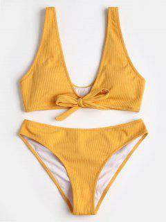 Bikini Côtelé à Noeud Papillon - Jaune S