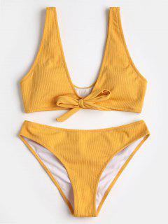 Bowtie Ribbed Scrunch Butt Bikini - Yellow M
