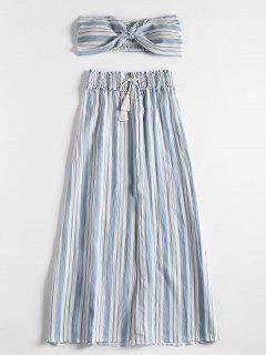 Stripes Shirred Panel Tube Top Y Slit Skirt Set - Azul Claro M
