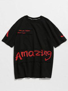 Letter Embroidered Round Neck Tee - Black M