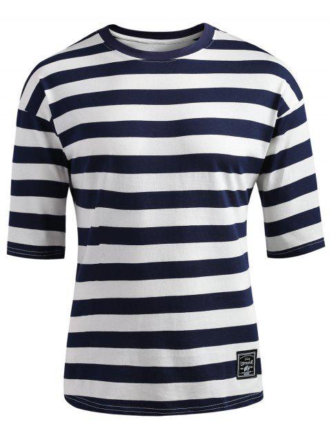 Camiseta a rayas con hombros caídos - Azul de Pizarra Oscuro L Mobile
