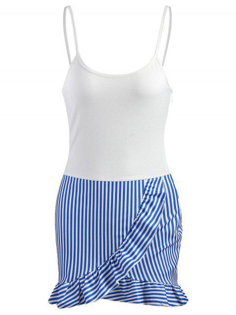 trendy Stripes Panel Ruffle Mini Dress - WHITE M Mobile