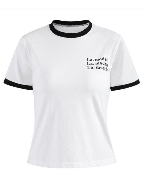Buchstabe Gedruckt Ringer T-Shirt - Weiß M Mobile