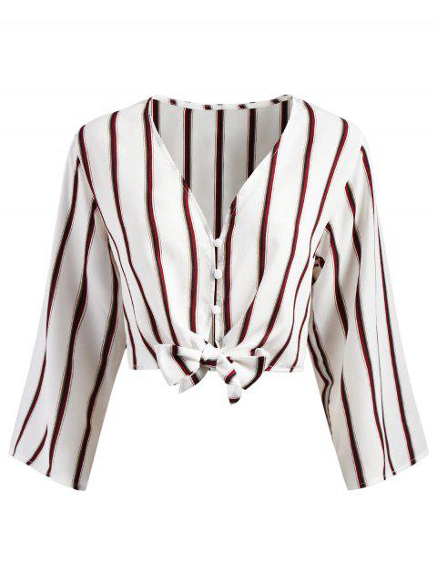 shops Button Up Stripes Cropped Top - WHITE M Mobile