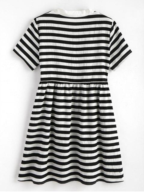 Mini vestido a rayas de medio botón - Negro Talla única Mobile