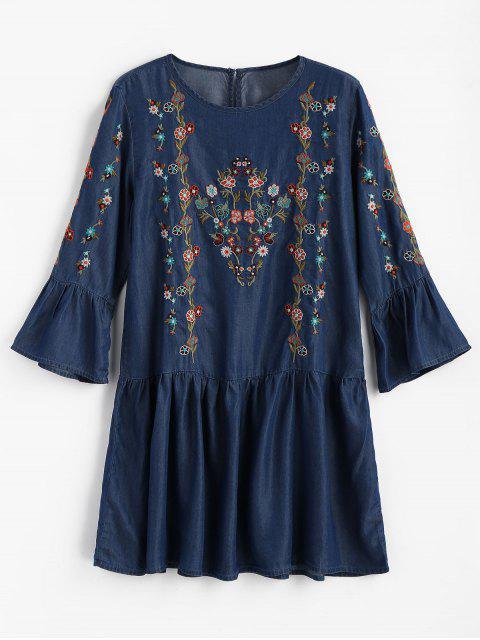 Mini vestido de volantes bordados florales - Azul Oscuro de Denim M Mobile
