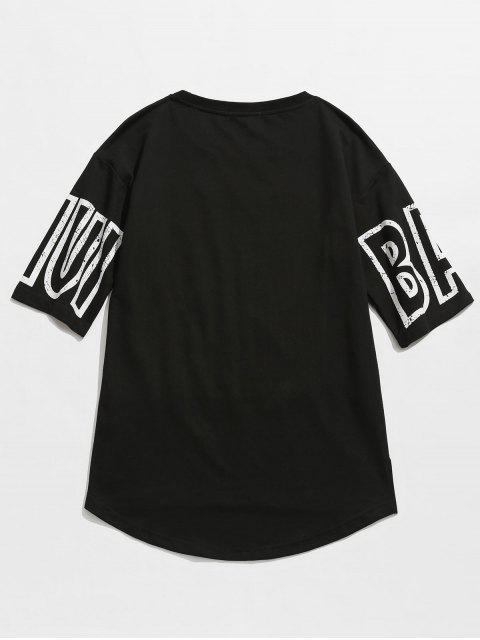 chic Letter Graphic Casual Slit Tee - BLACK 2XL Mobile
