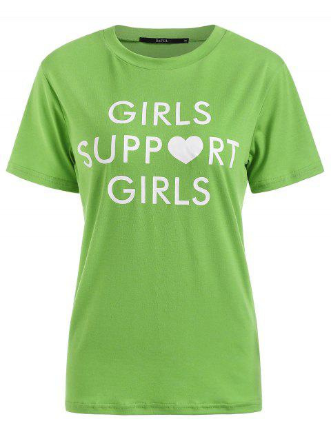 affordable Letters Graphic Round Collar Tee - GREEN M Mobile