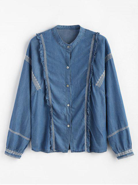 Camisa bordada con botones con volantes - Azul Denim M Mobile
