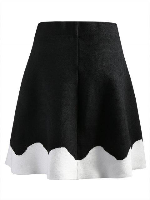 Falda de punto de dos tonos - Negro S Mobile