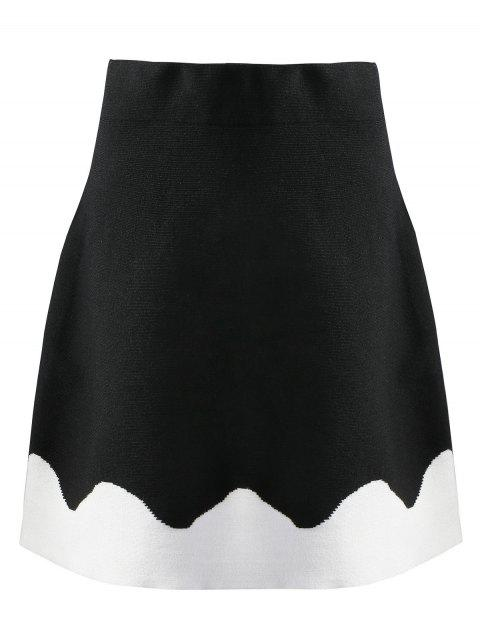 latest Knitted Two Tone A Line Skirt - BLACK M Mobile