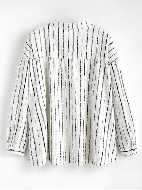 best Long Sleeve Striped Bowtie Blouse - WHITE ONE SIZE Mobile