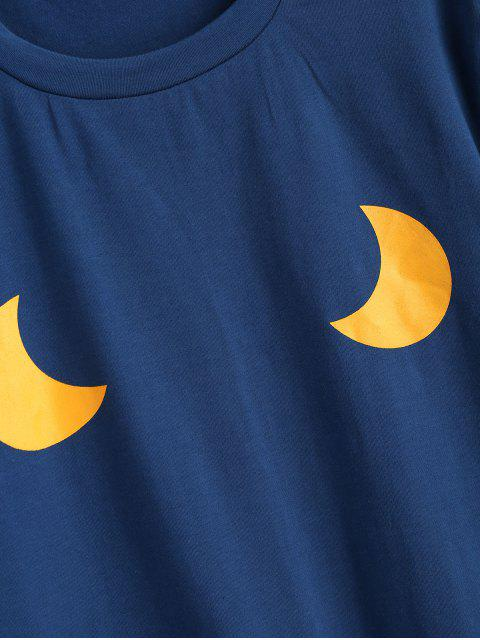 lady Cute Moons Graphic T Shirt - BLUE JAY M Mobile