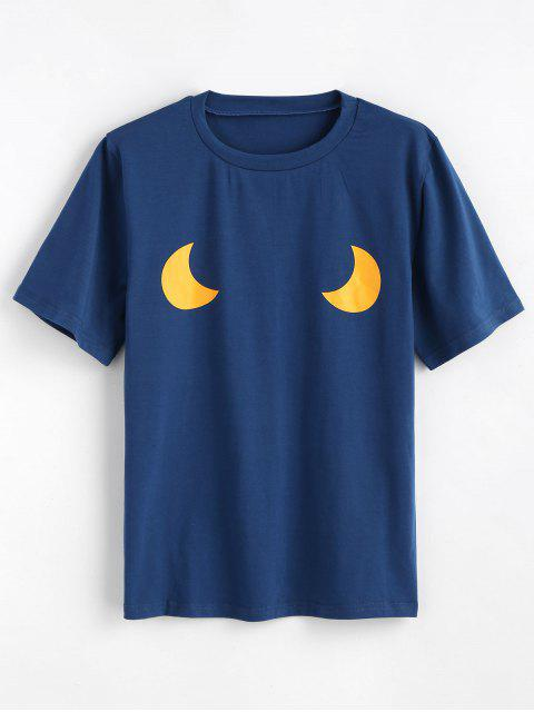 online Cute Moons Graphic T Shirt - BLUE JAY XL Mobile