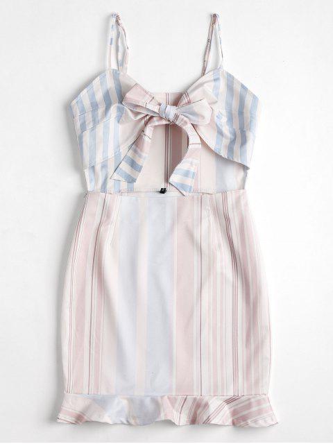 Mini vestido cortado a rayas con cordones - Blanco XL Mobile