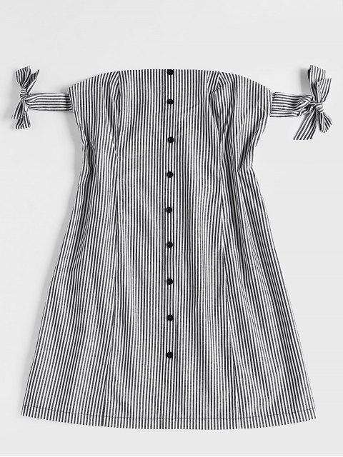 Mini vestido de hombro a rayas - Negro L Mobile