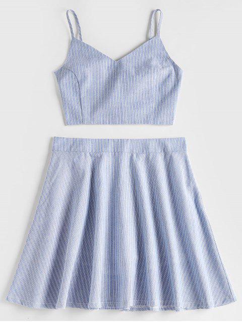 Top con rayas y conjunto de falda con rayas en la parte posterior - Gris Azulado XL Mobile