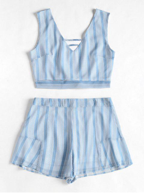 unique Open Back Striped Top and Ruffles Shorts Set - COLUMBIA BLUE S Mobile