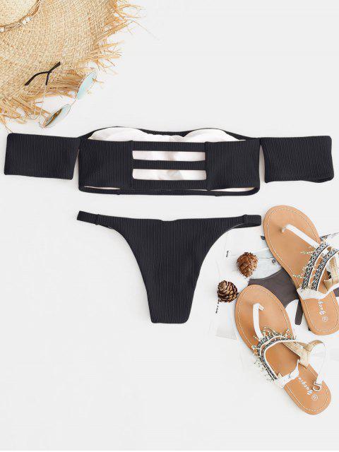 shop Ribbed Off The Shoulder Bikini Set - BLACK S Mobile