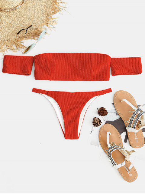 new Ribbed Off The Shoulder Bikini Set - GRAPEFRUIT M Mobile