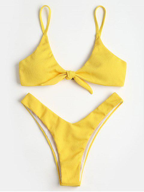 Ensemble de Bikini Cotelé Noué à Coupe Haute - Jaune M Mobile