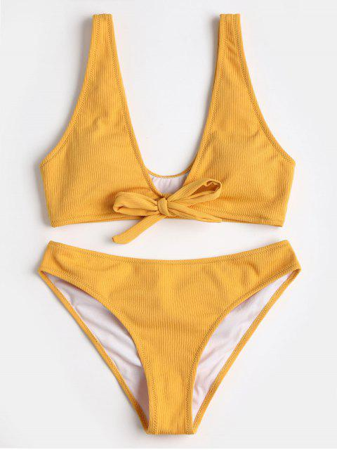 outfits Bowtie Ribbed Scrunch Butt Bikini - YELLOW L Mobile