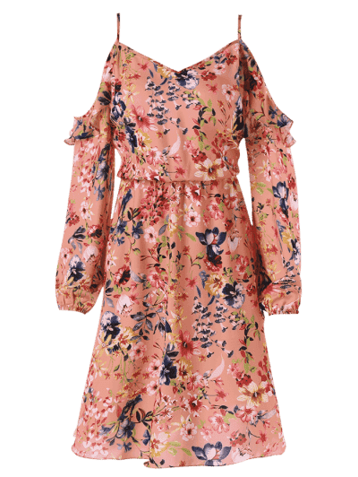 Plus Size Print Cold Shoulder Dress