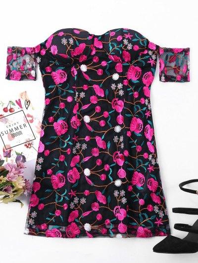 Embroidered Overlay Off Shoulder Dress - Black M