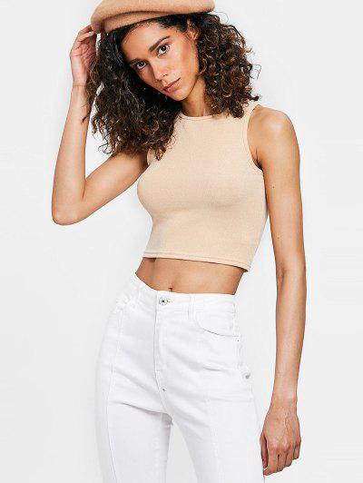 Stretchy Shiny Tank Top - Blanched Almond M