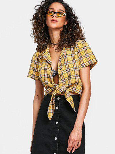 Tied Cropped Plaid Top - Bright Yellow M