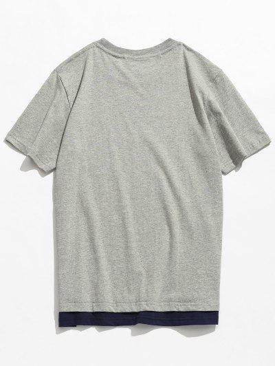 Camiseta Casual de Algodão de Manga Curta - Cinza L