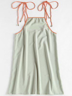Contrasting Knotted Slip Dress - Green Thumb Xl