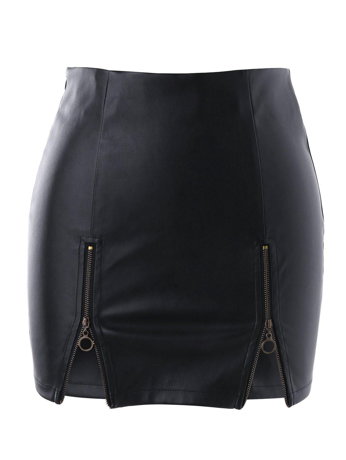 Zippers PU Skirt