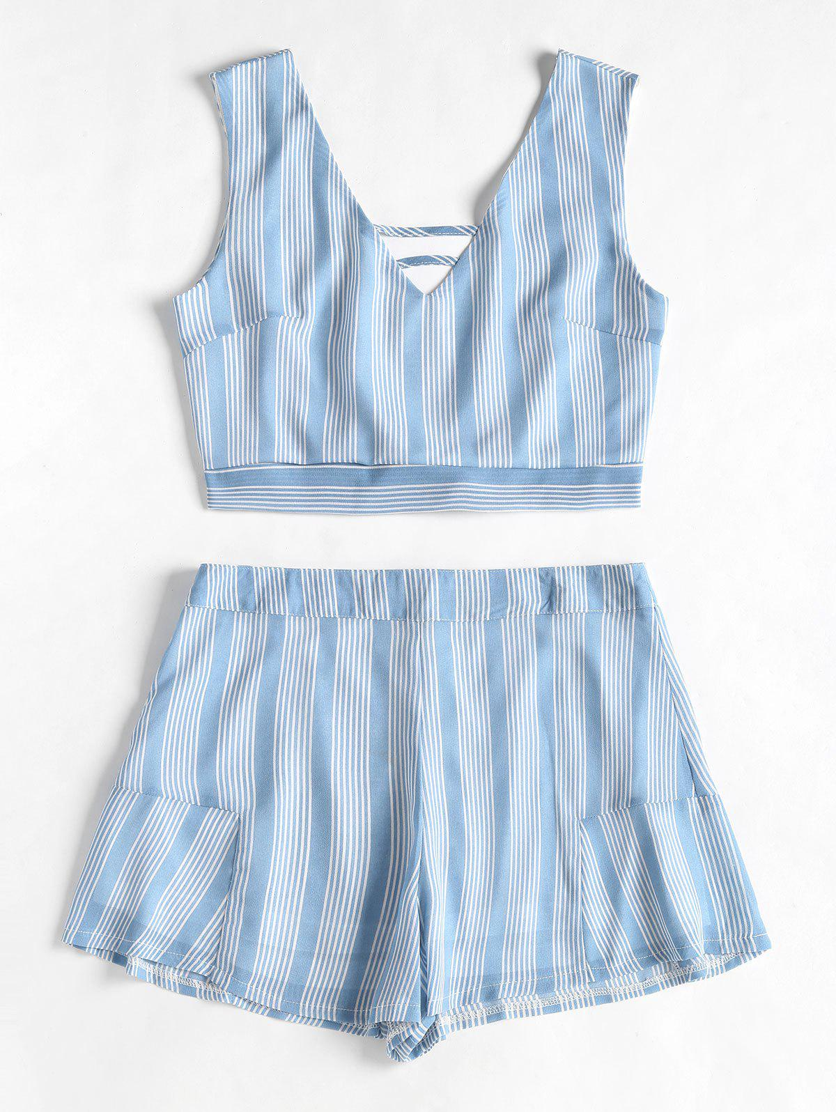 Open Back Striped Top and Ruffles Shorts Set
