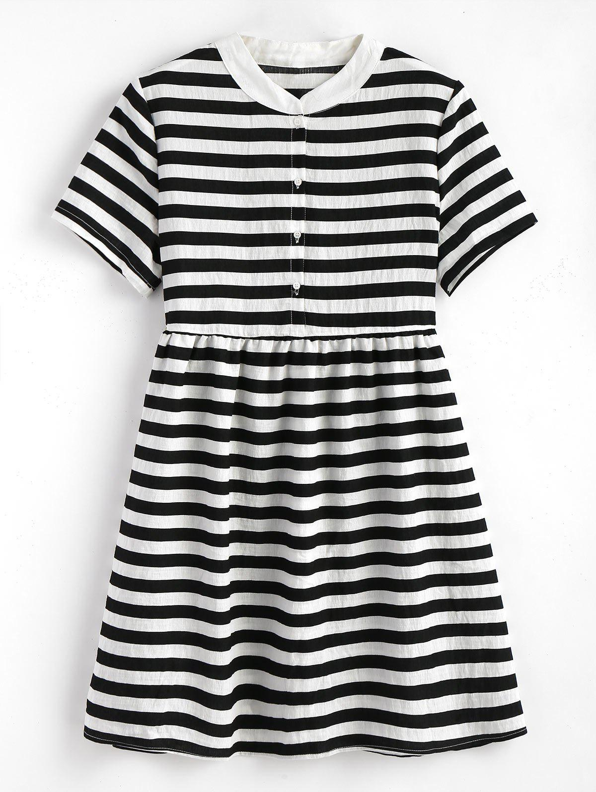 Striped Half Button Mini Dress 260216601