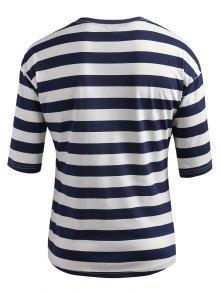 Oscuro Rayas M De 237;dos Pizarra A Camiseta Con Ca Hombros Azul z7zvO