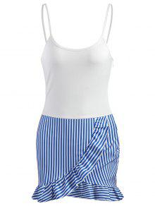 اللباس ميني كنشلي مكشكشة البسيطة - أبيض M