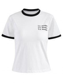 Letra Del S Campanero Camiseta Impresa Blanco UTfUwzq