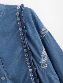 M Denim Bordada Camisa Blue Botones Con Con Volantes 4wH0P